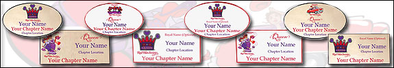 Red Hat Society Queen Name Badges Samples