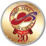 Red Hat Society button artwork 20th Anniversary 6pk