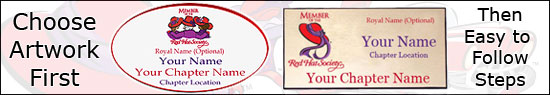 Red Hat Society Name Badge Samples